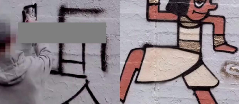 Berliński artysta przemalowuje swastyki na murach i zmienia je w wesoły street art