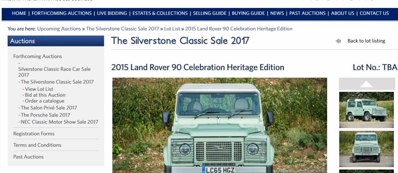 Land Rover Defender Rowana Atkinsona na sprzedaż