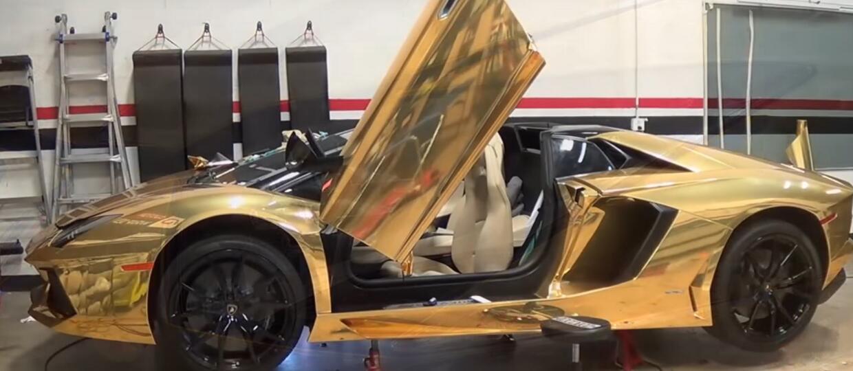 Oklejanie Lamborghini Aventadora na złoty kolor