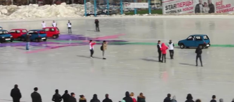 Rosyjski curling z samochodami