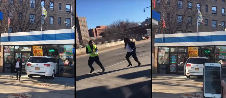 Wjechała w budynek stacji benzynowej i zaatakowała nagrywających