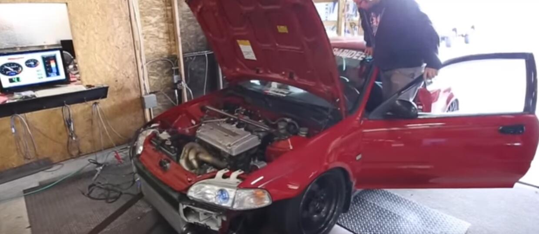 Wybuch 500 konnego silnika Hondy Civic w trakcie strojenia na hamowni