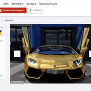 Złote Lamborghini Aventador na sprzedaż