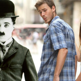 Chaplin - Distracted boyfriend meme