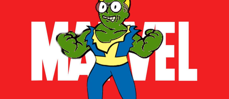Vault Boy na tle logo Marvela