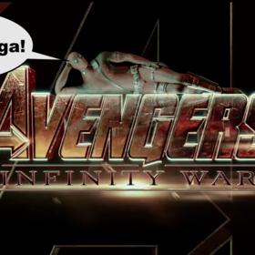 Deadpool leżący na logo Avengers: Infinity War