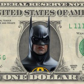 Batman na banknocie 1 dolarowym