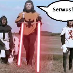 """Krzyżacy z mieczami świetlnymi w śmiesznej internetowej przeróbce """"Gwiezdny Grunwald"""""""