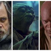 kadry z filmów Ostatni Jedi, Powrót Jedi i Zemsta Sithów