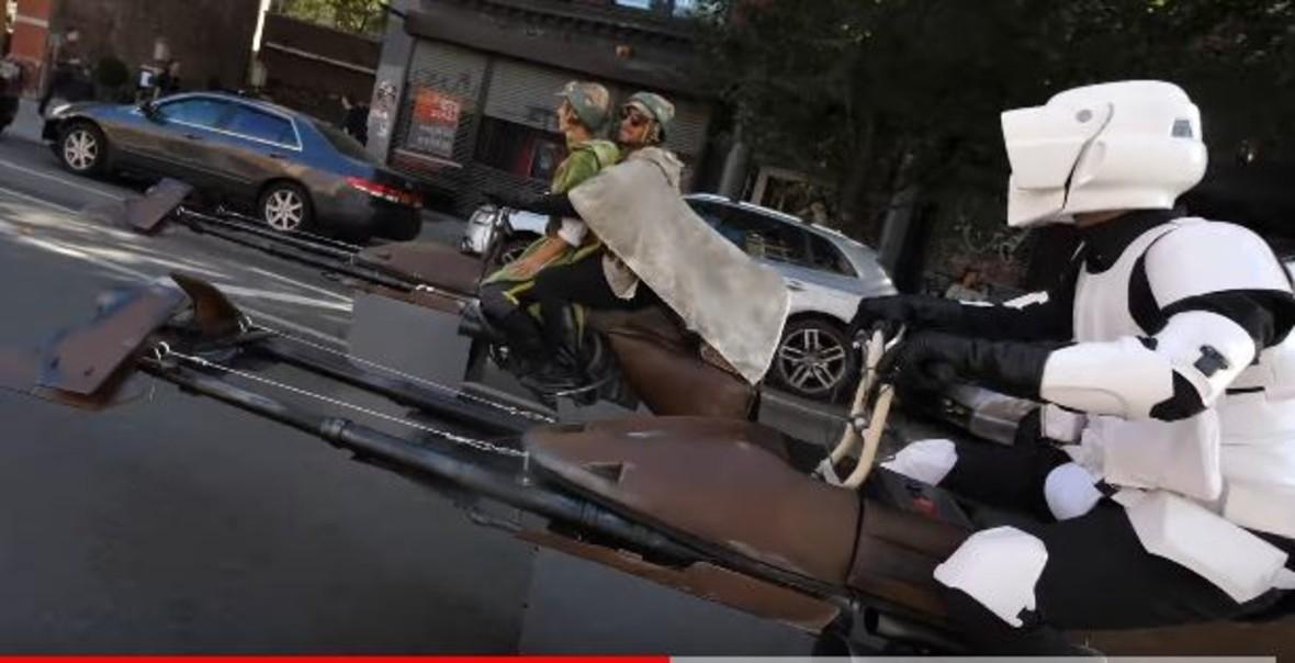 Luke i Leia zrobili sobie przejażdżkę Speederem po Nowym Jorku