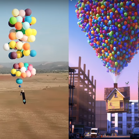 """Mężczyzna poleciał w świat na kolorowych balonach jak bohater filmu """"Odlot"""""""