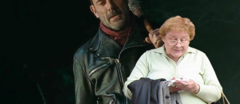 """Negan z """"The Walking Dead"""" został """"zaorany"""" przez staruszkę"""