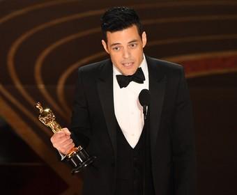 Rami Malek w trakcie przemowy, Oscary 2019. fot. VALERIE MACON/AFP/East News