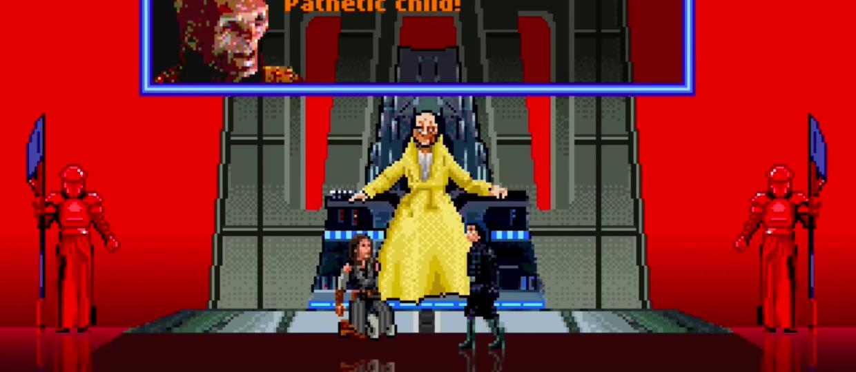 """Scena w sali tronowej Snoke'a z """"Ostatnich Jedi"""" jako 16-bitowa gra wideo"""