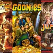 "Plakaty filmów ""Indiana Jones"", ""Jumanji"" i ""Goonies"""