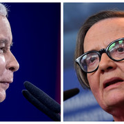 Jarosław KAczyński i Agnieszka Holland