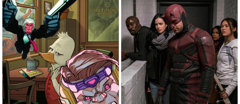 kadry z komiksów Howard the Duck #1 (2015), Hit-Monkey #1 (2010) i M.O.D.O.K. Assassin Vol 1 (2015) oraz serialu Defenders