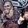 Chewabcca i Han Solo - kadr z filmu Gwiezdne Wojny IV