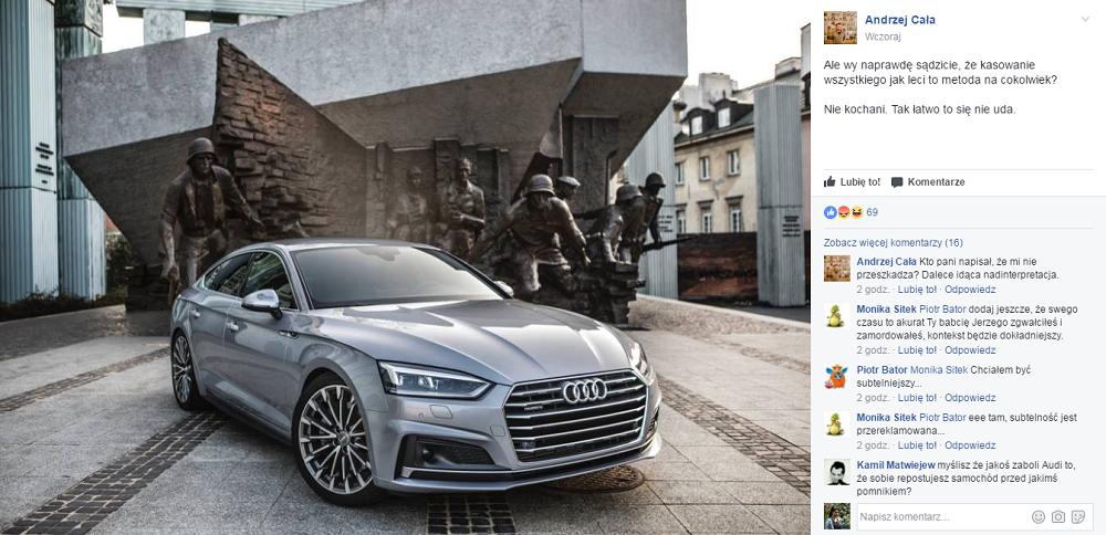 Audi pod pomnikiem Powstania Warszawskiego