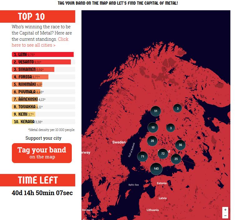 Metalowa mapa Finlandii