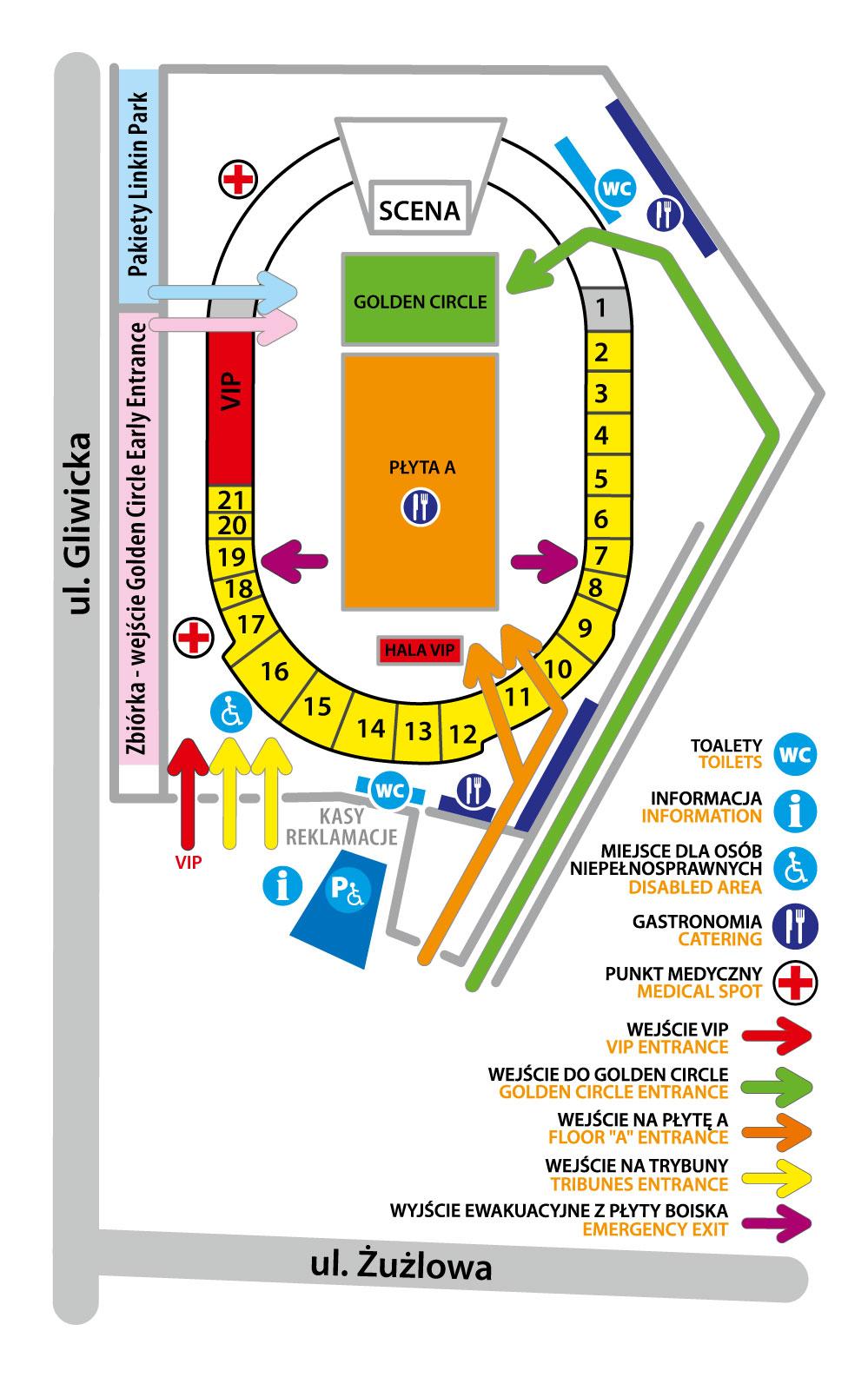 MAPA STADIONU - LINKIN PARK