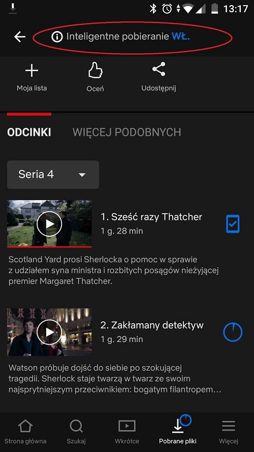 Netflix inteligentne pobieranie