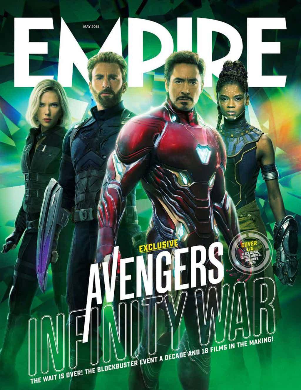 Black Widow, Iron Man, Kapitan Ameryka, Shuri na okładce Empire