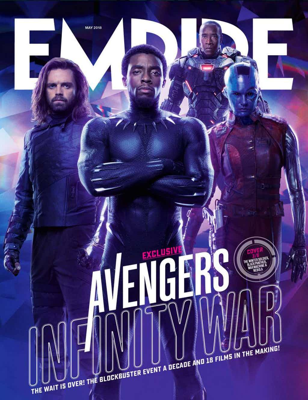 Bucky, Black Panther, War Machine, Nebula - okładka Empire