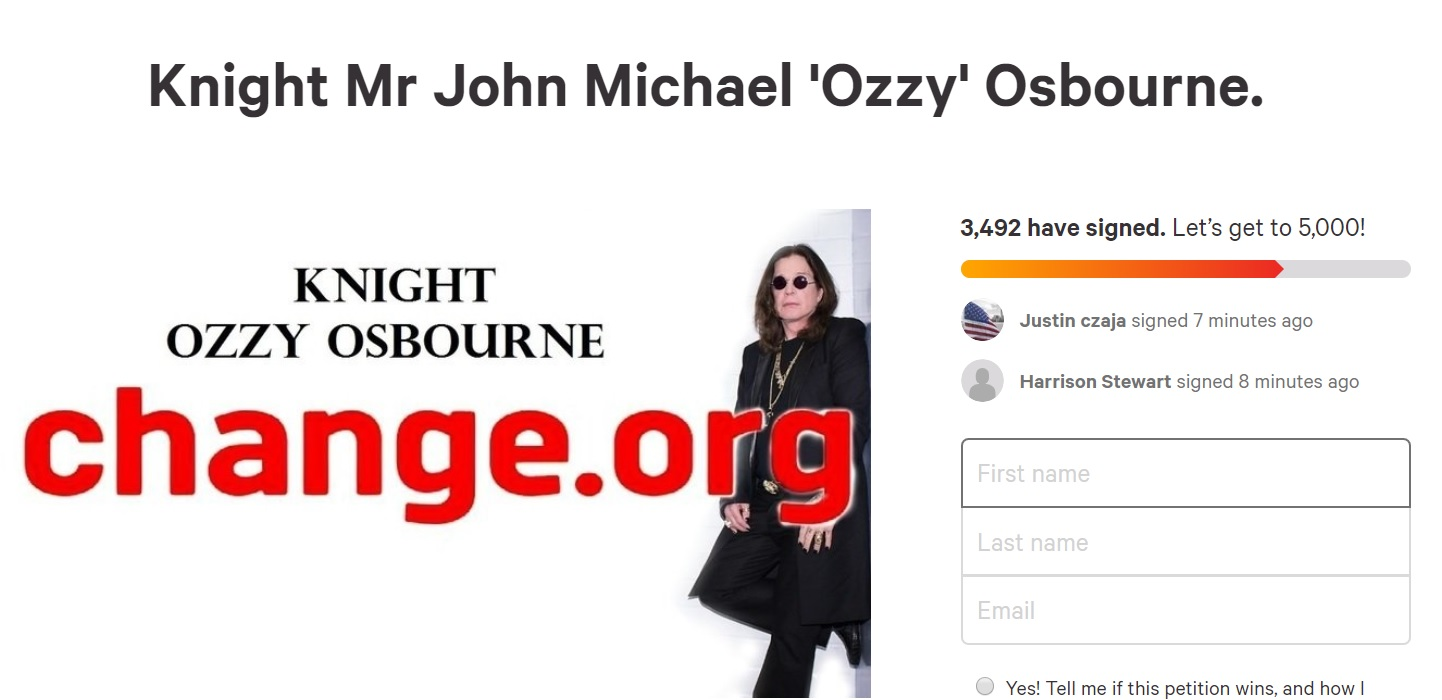 ozzy osbourne petycja