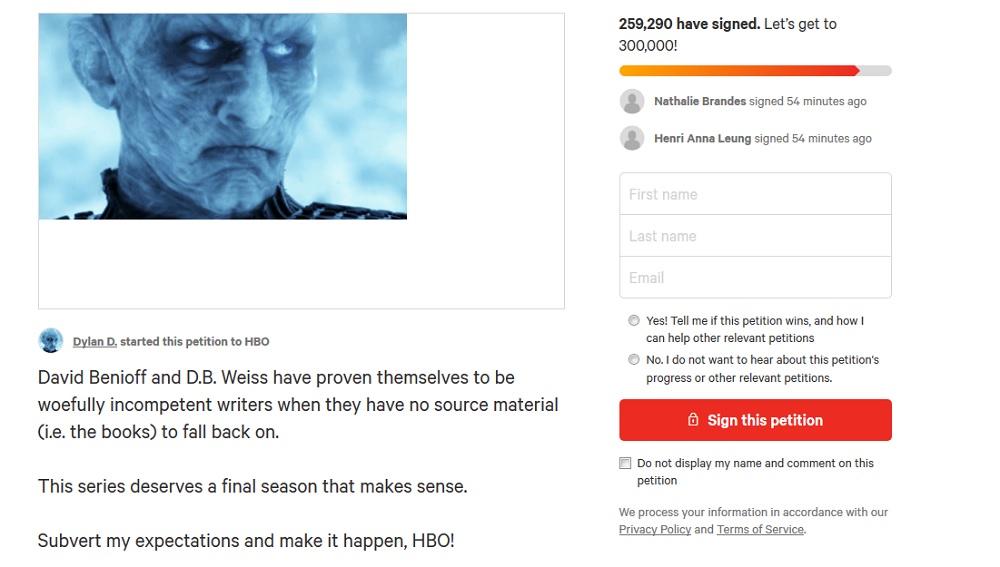 """Petycja o ponowne nakręcenie 8. sezonu """"Gry o tron"""", foto: zrzut ekranu www.change.org"""