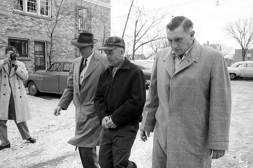 Ed Gein to the state crime lab. Plainfield, Wisconsin November 19, 1957.