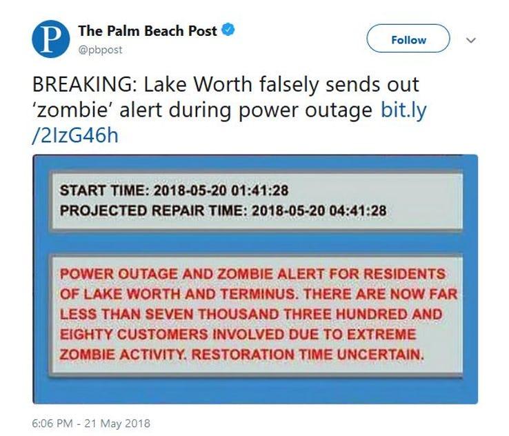 print screen z Palm Beach Post/Twitter