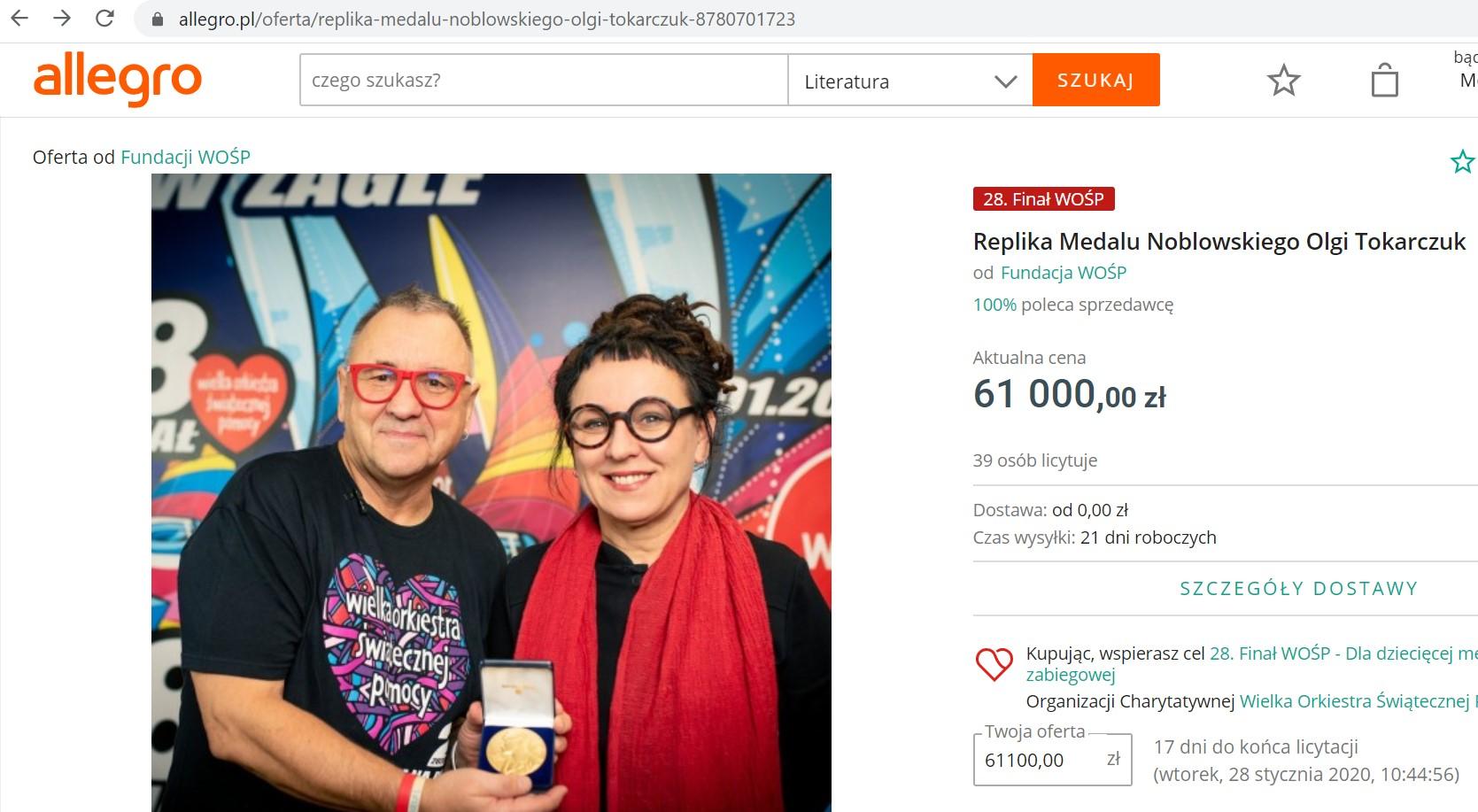 WOŚP 2020: aukcja Olgi Tokarczuk