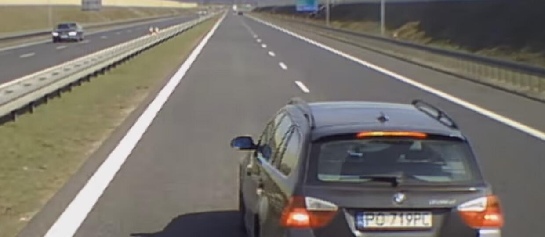 Szeryf z BMW naucza kierowcę TIR-a