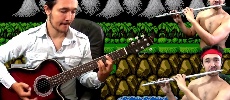 Jak brzmi motyw z gry Contra zagrany na gitarze i flecie?