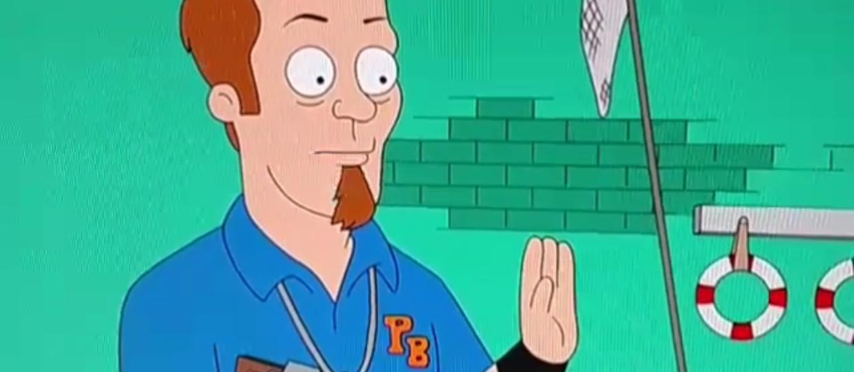 James Hetfield jako trener piłki wodnej w kreskówce