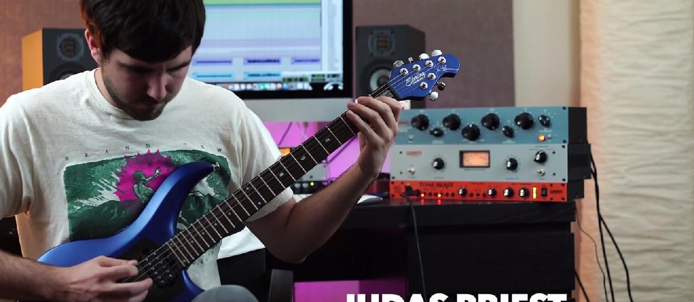Klasyczne metalowe riffy zagrane na gitarze od tyłu