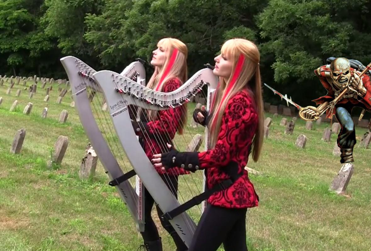 """""""The Trooper"""" w wykonaniu Harp Twins"""