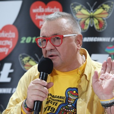 Jerzy Owsiak podczas 27. finału WOŚP 2019