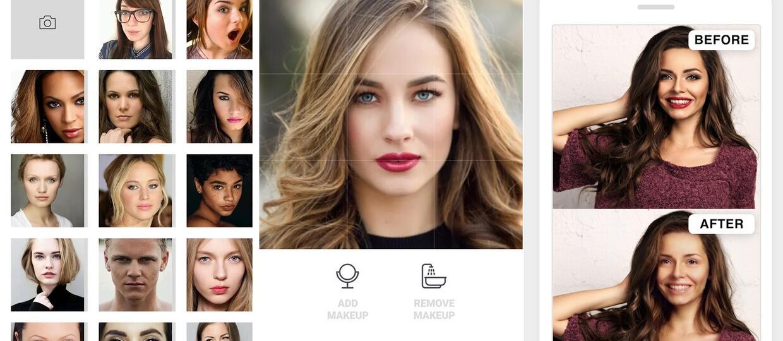 Makeapp zmywa makijaż z kobiet na zdjęciach