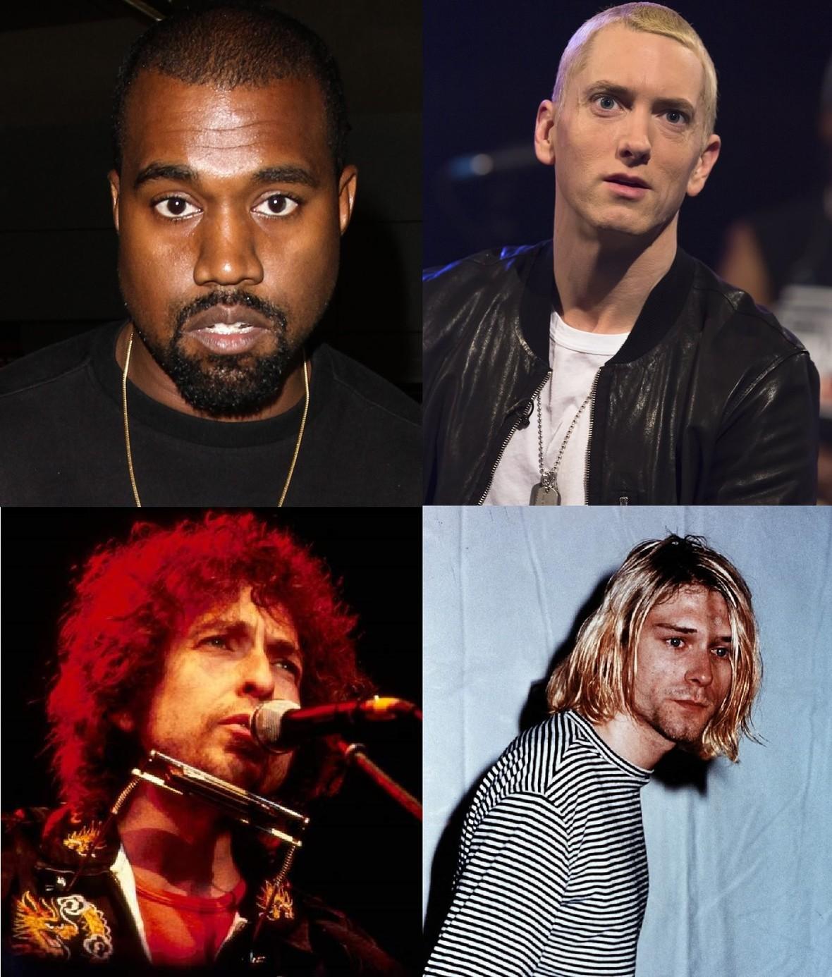 Dylan i Cobain znają mniej słów niż Kanye West i Eminem?