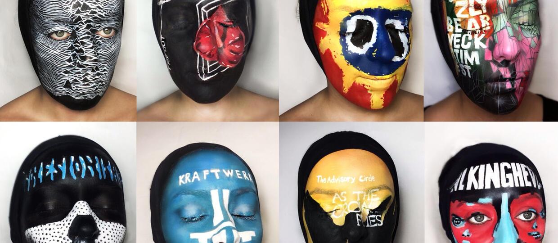 Znane okładki namalowane na twarzy