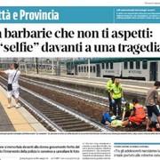 selfie z kobietą potrąconą przez pociąg