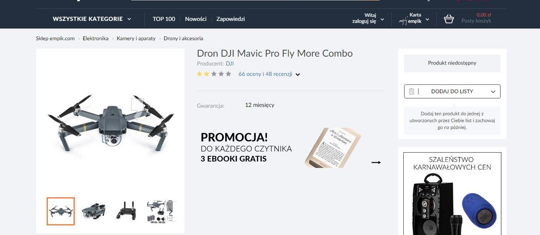 Empik sprzedawał drona z obniżką o 5500 zł - teraz nie chce wydać towaru
