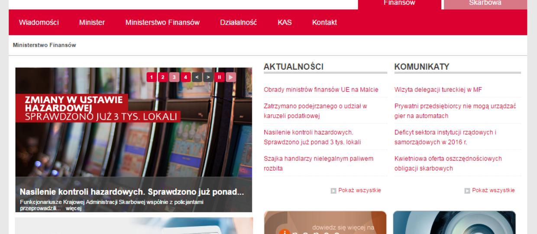 Ministerstwo Finansów zablokowało własną stronę za hazard