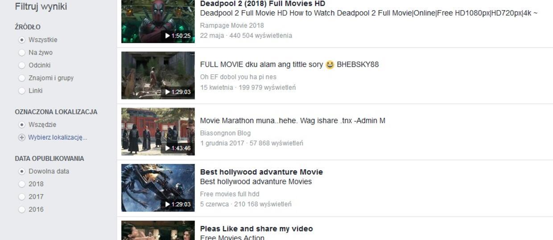 pirackie filmy na Facebooku