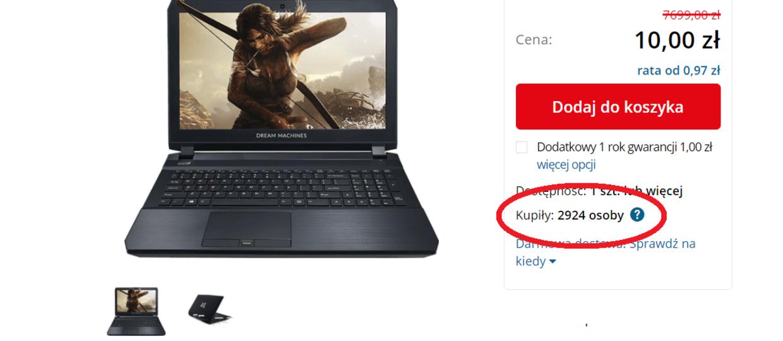 Tysiące internautów kupiło za 10 zł laptopa wartego 8 tysięcy