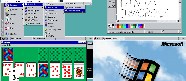 Windows 95 uruchomiony w przeglądarce