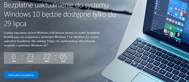 Ostatni dzień darmowej aktualizacji do Windows 10