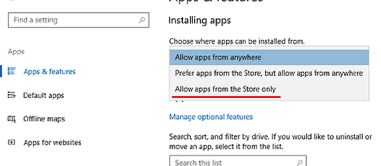 Windows 10 z blokadą instalacji programów spoza oficjalnego sklepu